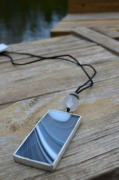 Makeup Mirror Pendant Stained Glass Jewelry by BayouGlassArts, $44.00