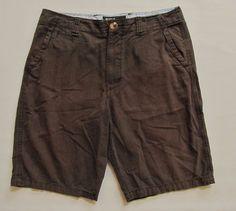 American Eagle Longer Length Shorts 36 Dark Brown striped Broken in Cotton Twill #AmericanEagleOutfitters #KhakisChinos