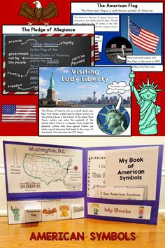 American Symbols - PowerPoint Slideshow, interactive folder, mini-books, word wall cards, etc. Kindergarten Social Studies, Kindergarten Themes, Kindergarten Science, Powerpoint Lesson, National Symbols, American Symbols, Thematic Units, Interactive Activities, School Themes