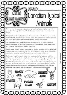 CANADA ( READY TO PRINT EASY READINGS AND WORKSHEETS) - TeachersPayTeachers.com