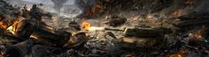 ArtStation - Tank battle, Anastasia Bulgakova