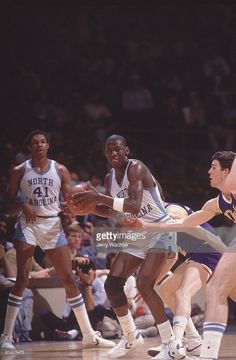 NCAA playoffs, North Carolina Michael Jordan (23) in action vs James Madison, Greensboro, NC 3/19/1983