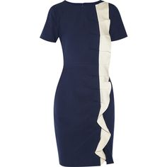 Mikael Aghal navy dress, Ivory ruffle
