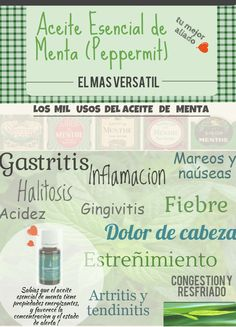 Aceite Esencial de Menta (Español) - Propiedades - Young Living Young Living Oils, Young Living Essential Oils, Halitosis, Yl Oils, Melaleuca, Alternative Medicine, Doterra, Health, Tips