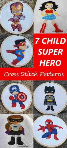7 Child Superhero Cross Stitch Patterns - Nerdstitch.com