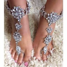 """""""Jeweled Crystal Ankle Foot Chain Bracelet Jewelry. These Beach Wedding Crystal Bridal Barefoot Sandals Clear Rhinestones Flower Design and Attached Barefoot Sandal Feet Jewelry Weddings     One Pair    Coordinating Hand Chain Available    One size fits """"most"""" Women.    Handmade upon Order    Chain is Adjustable: 32 - 39cm    Toe Chain is 25cm    Please be sure to measure around your ankle to be sure the size is appropriate for you.   Shop this product here…"""