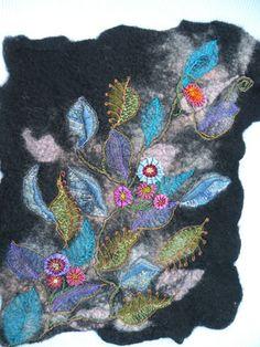 Leaves, embroidered handmade felt.