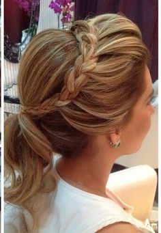 pretty bridal ponytail with braided crown ~ we ❤ this! moncheribridals.com