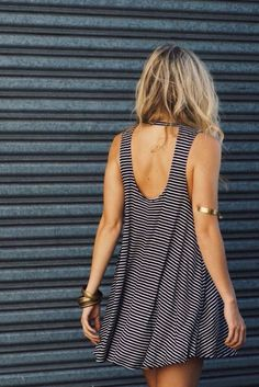 Dress: mini stripes striped low back cut-out summer