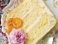 Lemon-Orange Chiffon Cake | Serve this decadent Lemon-Orange Chiffon Cake at your next ladies' luncheon and wow the crowd with edible flowers. Take your pick at crystallizedflowers.com.