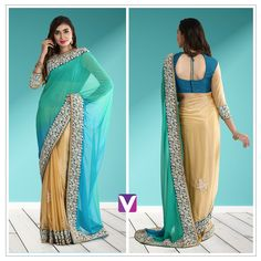 Ombre Sarees are our pick for this Fall! Shop this by Product Code: 6163931. #sarees #ombresaree #dressy #graceful #ethnicwear #onlineshopping #voonik