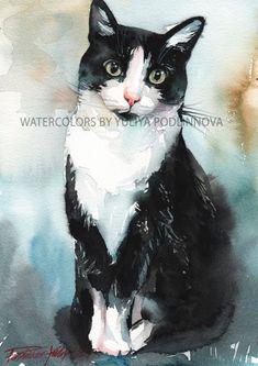 Zwart-wit Tuxedo kat digitale Art Print van aquarel schilderij