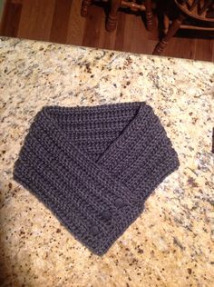 Crochet cowl scarf charcoal gray