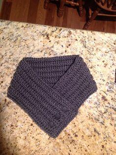 Crochet cowl scarf charcoal gray
