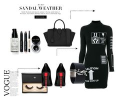 """Going Dark - All Black Fashion"" by aylapril ❤ liked on Polyvore featuring Moschino, Yves Saint Laurent, Lash Star Beauty and Bobbi Brown Cosmetics"