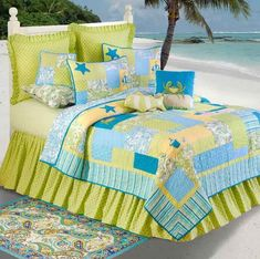 The Country Porch features the Beach Bum Quilt pillow sham and bedding accessories from C&F Enterprises. Beach Theme Bedding, Beach Themed Quilts, Nautical Bedding Sets, Beach Bedding Sets, Comforter Sets, Coastal Bedding, Luxury Bedding, Tropical Bedding, Tropical Decor