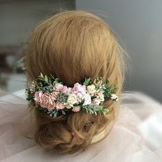 Excited to share the latest addition to my #etsy shop: Ivory, blush pink, soft pink and green hair piece, ivory and blush pink flowers hair clip, greenery hair accessories, floral hair vine, brid