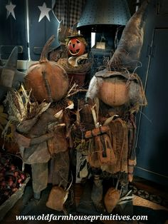 "#MA42 Primitive Fall Dolls ""Edgar Poe Pumpkin"" & ""Tilly Witch"" (Made In USA) *PREORDERS ONLY*"