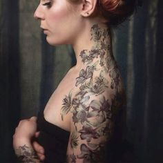 « #tattoo #tattoos #ink #inked #shoulder #shouldertattoo #shouldertattoos #sleeve #neck #necktattoo #necktattoos #black #flower #flowers #lily #lilies #love… »