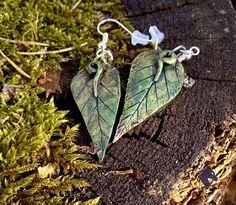 Bronze Green Leaf Earrings