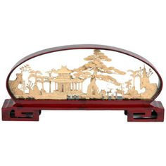 Oriental Furniture Pine and Pagoda Cork Carving