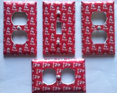 MICKEY MOUSE LIGHT SWITCH PLATE COVER AND 3 OUTLET COVERS (RED) FREE SHIPPING !! #OUTLETCOVER