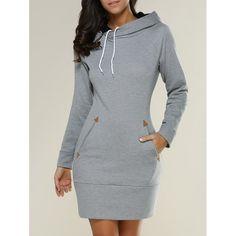 Long Sleeve Mini Hoodie Dress, GRAY, XL in Long Sleeve Dresses   DressLily.com