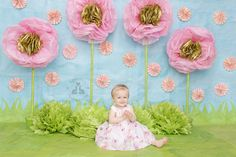 SBurritt Photography Canada Baby cake smash Thumbellina giant tissue paper flowers pink girly