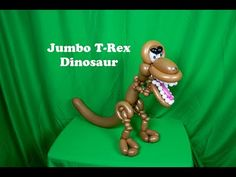Learn how to make a jumbo T-Rex dinosaur balloon with Stretch Dinosaur Balloons, Animal Balloons, Balloon Crafts, Balloon Ideas, Masquerade Party, Masquerade Masks, Ballon Animals, Animal Hand Puppets, Twisting Balloons