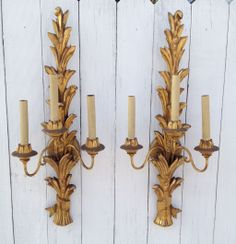 Pair Vintage Italian Carved Gilt Wood Sconces from Nobili Antiques on Ruby Lane