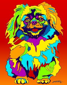 Multi-Color Pekingese Matted Prints & Canvas Giclées. Hand painted and printed in USA by the artist Michael Vistia. Dog Breed: The Pekingese is an ancient breed of toy dog, originating in China. They