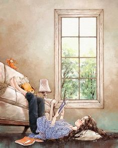 Illustrations By Korean Artist Show The Happiness And Tranquility Comes With Solitude Reading Art, Girl Reading, Reading Books, Forest Girl, Cute Illustration, Magazine Illustration, Anime Art Girl, Cartoon Art, Cute Drawings