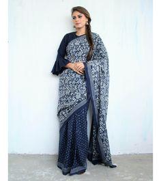 Blue Block Printed Cotton Mul Saree