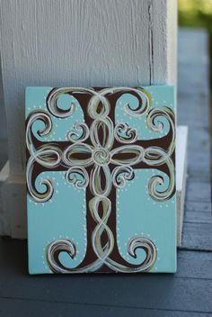 Hand Painted Cross Canvas via Etsy