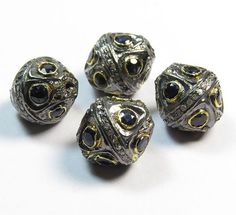 1 Pcs 925 Sterling Silver Pave Designer Handmade Beads by GEMSICON