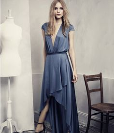 H&M Conscious Exclusive Two-Piece Blue Satin dress With a Train… Fast Fashion, Fashion News, Fashion Models, High Fashion, Green Fashion, Fashion Fashion, Spring Fashion, Fashion Women, Blue Satin Dress