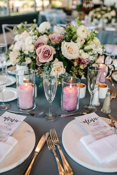 Must See Hottest Mauve Wedding Decorations for Your Upcoming Day- glass candles wedding centerpieces, Candle Wedding Centerpieces, Wedding Table Decorations, Wedding Table Centerpieces, Wedding Table Settings, Floral Centerpieces, Centerpiece Ideas, Floral Arrangements, Mauve Wedding, Floral Wedding