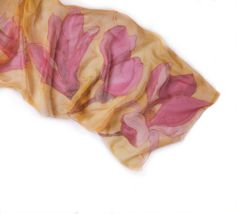 Pink Magnolia hand painted silk chiffon scarf. Floral fashion scarf. Hand painted scarves.Spring flowers scarf. Yellow pink silk scarf. Long floral silk scarf paint by hand.Woman fashion scarf. Long fashion scarf. Mothers Day gifts  size 45 by 180 cm  A silk scarf will give a perfect finishing touch to any outfit, whether it be dressy or casual. It can also be worn as a hair band or a belt. It will make a wonderful one-of-a-kind gift.  The silk has been painted with reactive dye that becomes…