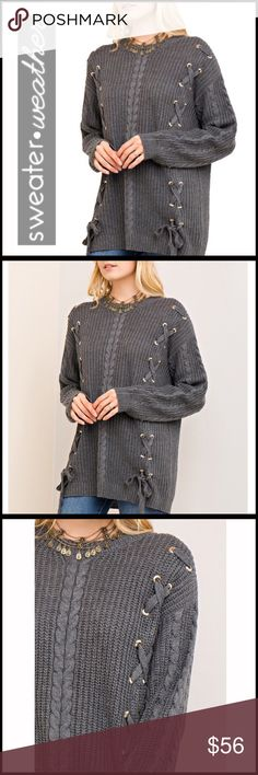 """Criss-Cross Soft Cable-knit Sweater Criss-Cross Soft Cable-knit Sweater; 100% acrylic; Measurements: Size Large:  Laid flat it measures 22"""" across the chest, is 28"""" from shoulder seam to hem, and the sleeves are 24"""". Boutique Sweaters"""