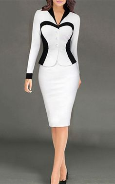 OL Style Color Block Long Sleeve Bodycon Faux Twinset Dress For Women