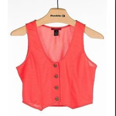 Coral Vest Like new! Could be used as a vest or crop top. BKE Jackets & Coats Vests