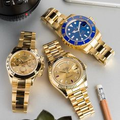 Yellow gold Rolex trio in stock at . Dream Watches, Cool Watches, Rolex Watches, Guy Watches, Casual Watches, Patek Philippe, Festina, Gold Rolex, Expensive Watches