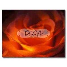 Rose themed Wedding Invitation RSVP with Photo Postcard