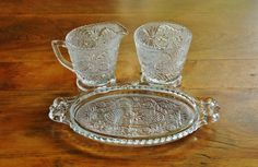 #Vintage Pressed Glass #CreamSugarSet with Tray, #DuncanMiller #SandwichGlass, Pattern Glass Sugar Creamer Dish Set