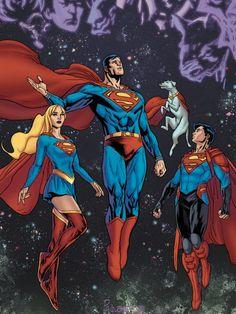 Superman, Supergirl, Superboy, and Krypto Supergirl Superman, Superman Movies, Superman Art, Superman Family, Dc Movies, Batman, Dc Comics Superheroes, Dc Comics Art, Marvel Dc Comics
