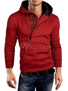 1a5d7d21b8f1d Sweat-shirt à capuche noir à manches longues à capuche à manches longues  pour hommes