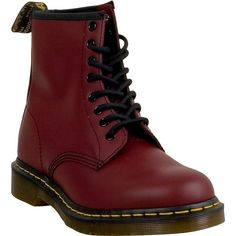 Dr. Martens 1460 Unisex  Boot ($135) ❤ liked on Polyvore featuring shoes, boots, burgundy, lace up shoes, laced up shoes, lace up combat boots, army boots and burgundy boots