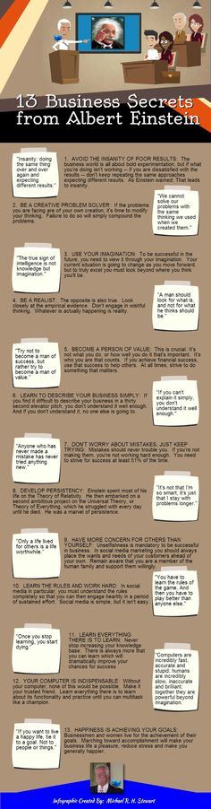 13 Business secrets from Albert Einstein #infografia #infographic
