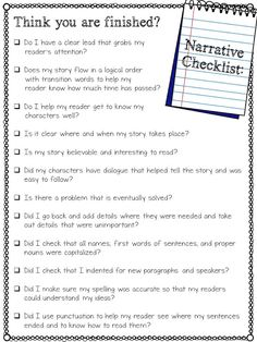 I would use this as an anchor chart that is hanging up in the writing station. I would teach my students to use it to evaluate their narrative writing or that of their peers. Teaching Narrative Writing, Personal Narrative Writing, Third Grade Writing, Writing Classes, Writing Lessons, Writing Skills, Essay Writing, Personal Narratives, Narrative Essay