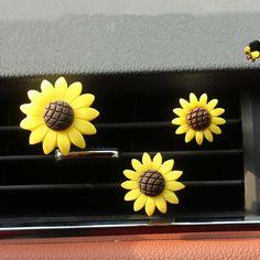Bling Your Ride-Set of 3 Sunflowers Car Air Vent Decoration with Freshener DIY clip